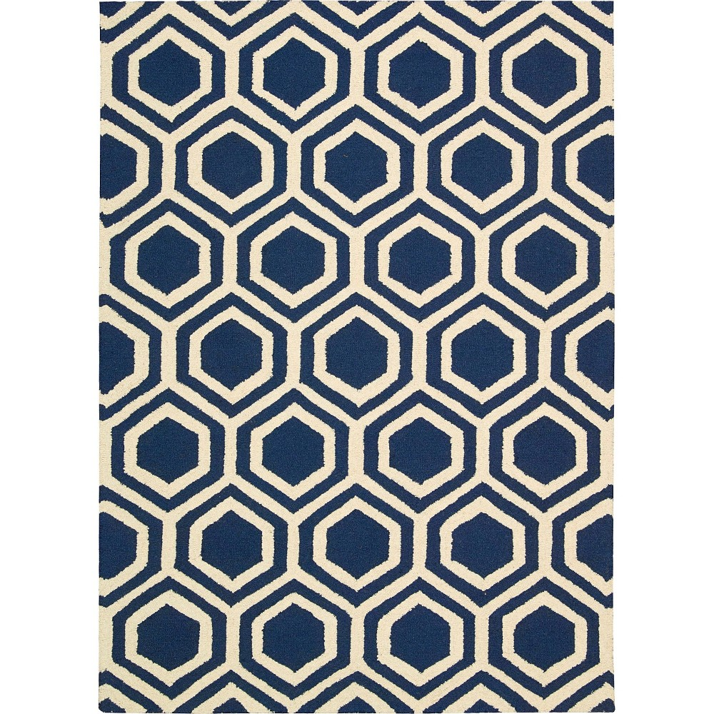 """Image of """"Nourison Hexagon Linear Accent Rug - Blue/Ivory (3'9""""""""X5'9"""""""")"""""""
