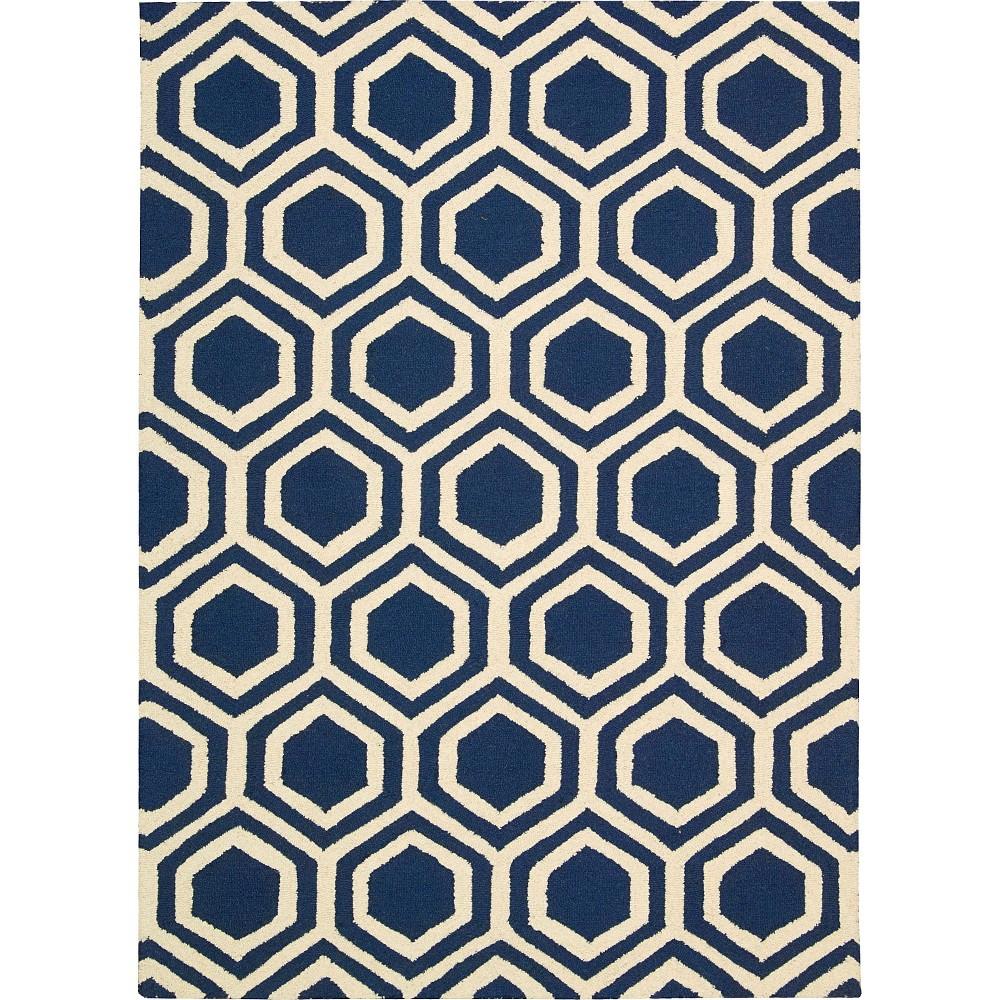 Nourison Hexagon Linear Accent Rug - Blue/Ivory (3'9