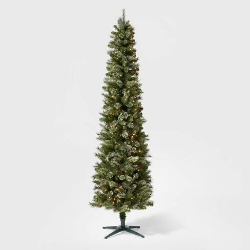 7 5ft Pre Lit Artificial Christmas Tree Pencil Virginia Pine Clear Lights Wondershop Target