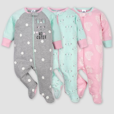 Gerber Baby Girls' 3pk Bunny Sleep N' Play Pajamas - Green/Pink/Gray 6-9M