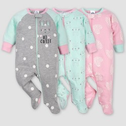 Gerber Baby Girls' 3pk Bunny Sleep N' Play Pajamas - Green/Pink/Gray