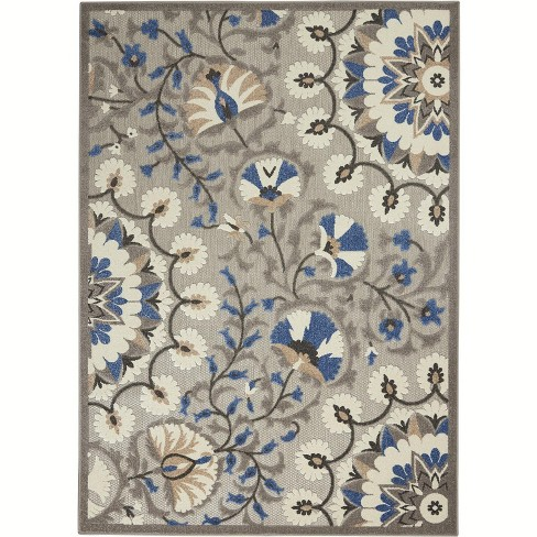 Nourison Aloha Alh20 Gray Blue White Indoor Outdoor Area Rug