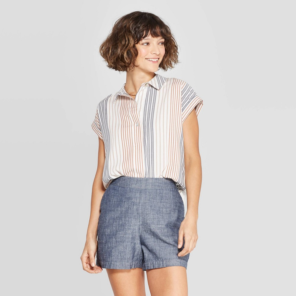 Women's Striped Short Sleeve Popover Shirt - A New Day White/Tan/Blue XS, Red
