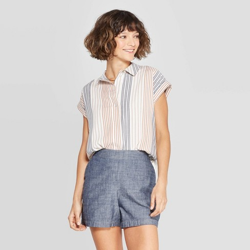 Women's Striped Short Sleeve Popover Shirt - A New Day™ White/Tan/Blue - image 1 of 10