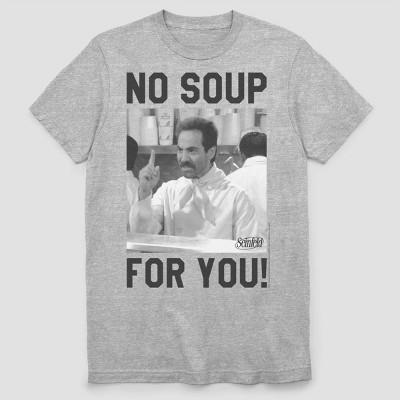 Men's Netflix No Soup for You Meme Short Sleeve Graphic Crewneck T-Shirt - Heather Gray