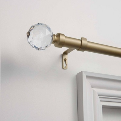 """36""""-72"""" Crystal Ball Adjustable Curtain Rod and Coordinating Finial Set Gold - Exclusive Home"""