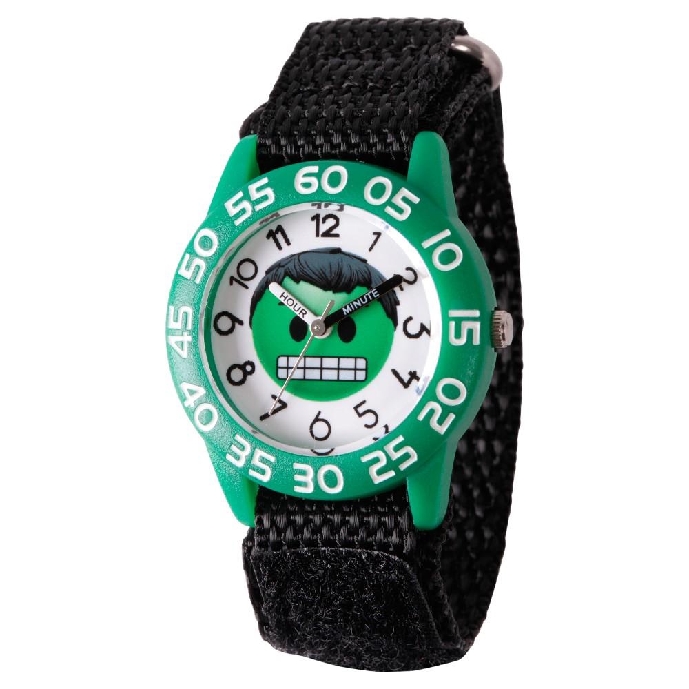 Boys' Marvel Emoji Hulk Plastic Time Teacher Watch - Black