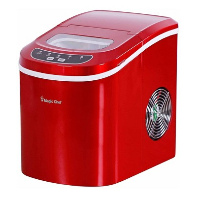 Magic Chef MCIM22R Portable Countertop Ice Cube Maker Machine with Scooper Making 27 Pounds per Day for Home Table Top Counters, Red (Stainless Steel)