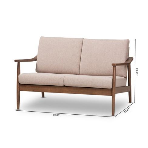 Venza Mid Modern Walnut Wood Fabric Upholstered 2 Seater Loveseat Light  Brown - Baxton Studio