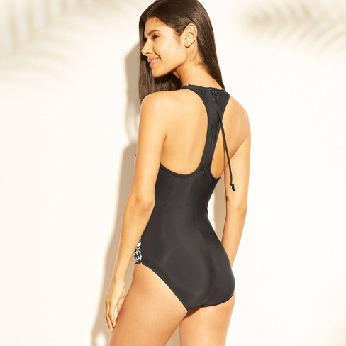 5e46b5ea657 Women's High Neck One Piece Swimsuit - Aqua Green® Black/White Print :  Target