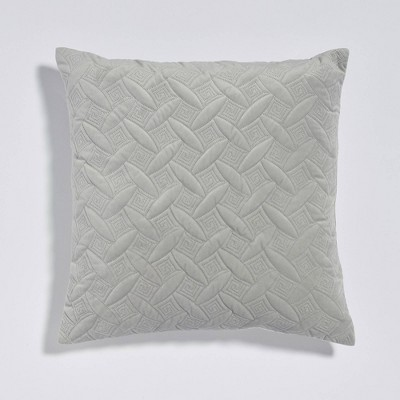 "20""x20"" Diamond Quilt Plush Reversible Throw Pillow Gray - Sure Fit"