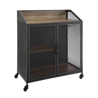 33  Industrial Bar Cabinet With Mesh Rustic Oak - Saracina Home
