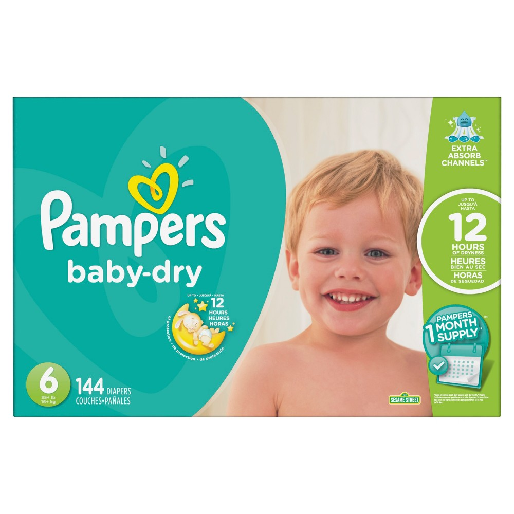 Pampers Baby Dry Diapers - Size 6 (144ct)