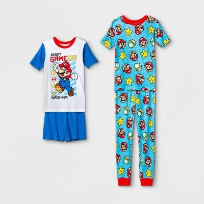 Boys' Mario Kart 4pc Pajama Set - White/Blue