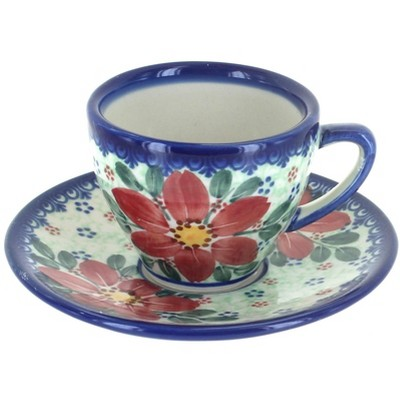 Blue Rose Polish Pottery Poinsettia Tapered Espresso Cup & Saucer