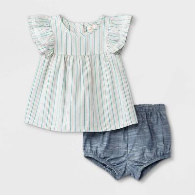Baby Girls' 2pc Striped Seersucker Poplin Top & Bottom Set - Cat & Jack™ White 6-9M