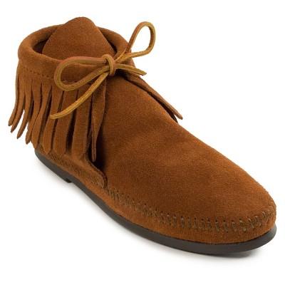 Minnetonka Women's Suede Classic Fringe Hardsole Boot