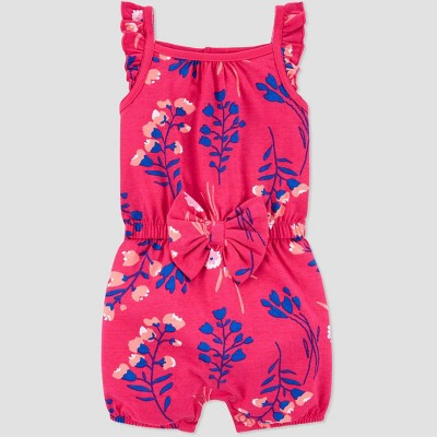 Baby Girls' One Piece Floral Romper - Just One You® made by carter's Dark Pink 12M