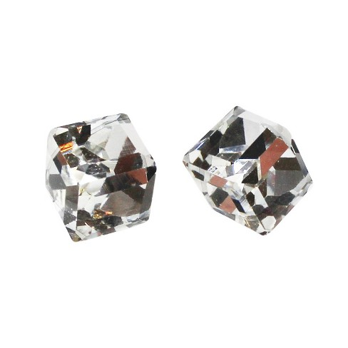 Women's Cube Stud Earrings - Clear - image 1 of 2