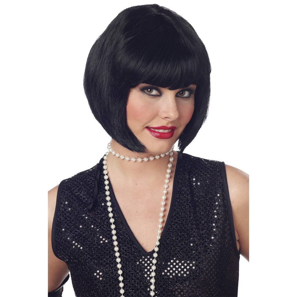 Image of Halloween Flapper Black Costume Wig Black - One Size, Women's