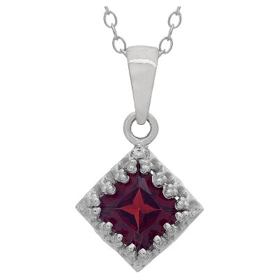 Tiara Sterling Silver Princess-cut Birthstone Crown Pendant