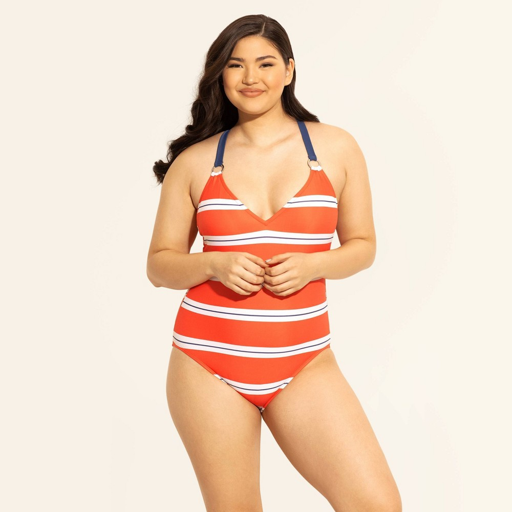 Women's Slimming Control Cross Back One Piece Swimsuit - Beach Betty by Miracle Brands Red Stripe M