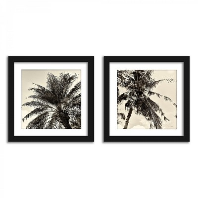 Americanflat Sepia Palm Tree - Set of 2 Framed Prints by Wild Apple
