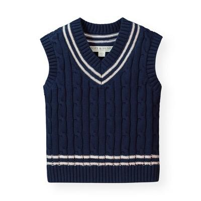 Hope & Henry Infant Boys' Navy Cable Sweater Vest