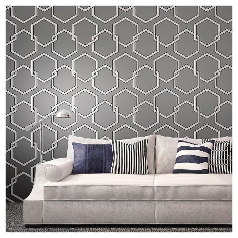 Tempaper - Honeycomb Self-Adhesive Removable Wallpaper  - Gray - image 1 of 2