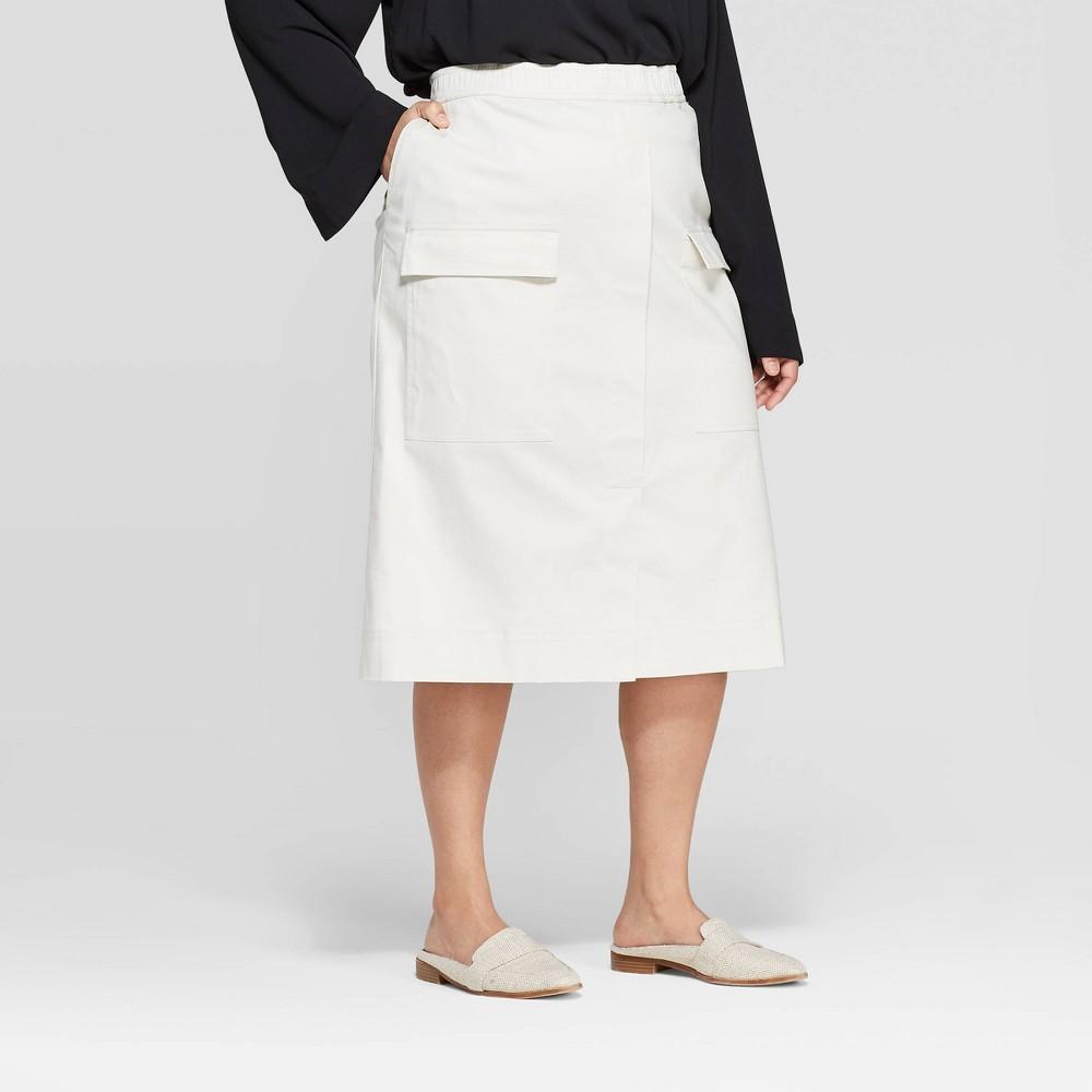 Women's Plus Size Midi Utility Skirt - Prologue White 14W