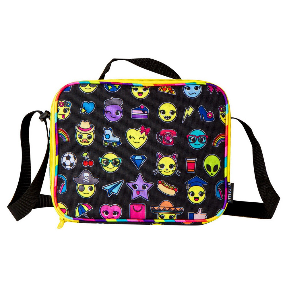 Style Lab by Fashion Angels Lunch Tote - Black Emoji, Multi-Colored