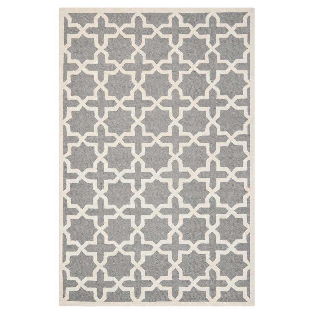 Marnie Texture Wool Rug - Silver / Ivory (5' X 8') - Safavieh, Silver/Ivory