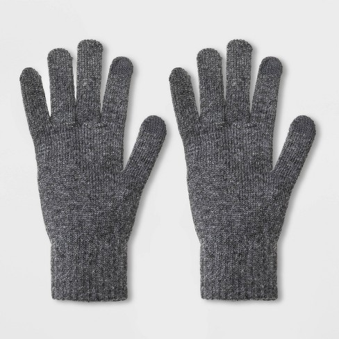 Men's Solid Knit Tech Touch Gloves - Goodfellow & Co™ Gray One Size - image 1 of 1