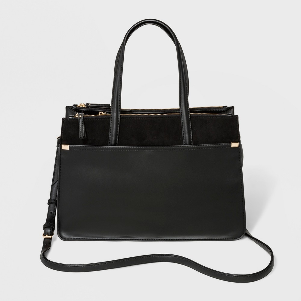 Laurel Multi-Zip Satchel Handbag - A New Day Black, Women's, Size: Large