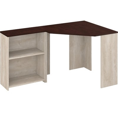 Bush Furniture Townhill 34 Corner Desk with Bookcase, Washed Gray/Madison Cherry TNH002WM2