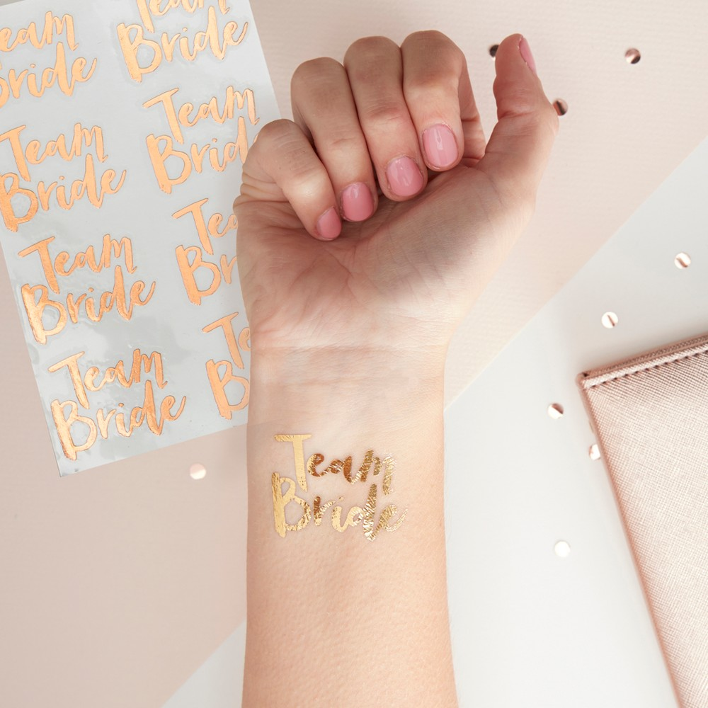 "Image of ""12ct """"Team Bride"""" Temporary Tattoos, Gold"""