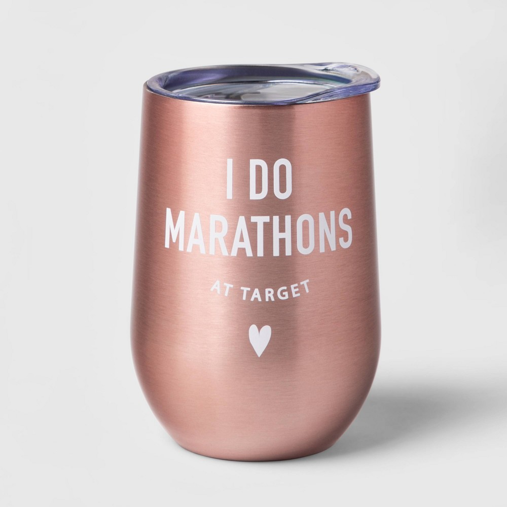Image of 11oz Double Wall Stainless Steel I do Marathons at Target Wine Tumbler With Lid Pink - Room Essentials