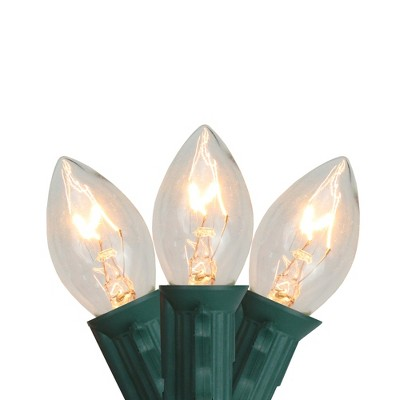 Northlight 25ct Incandescent C7 Christmas Lights Transparent Clear - 24' Green Wire