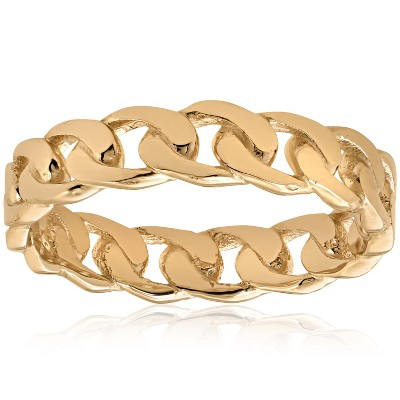 Pompeii3 Mens 14k Yellow Gold Hand Braided Curb Linked Wedding Band