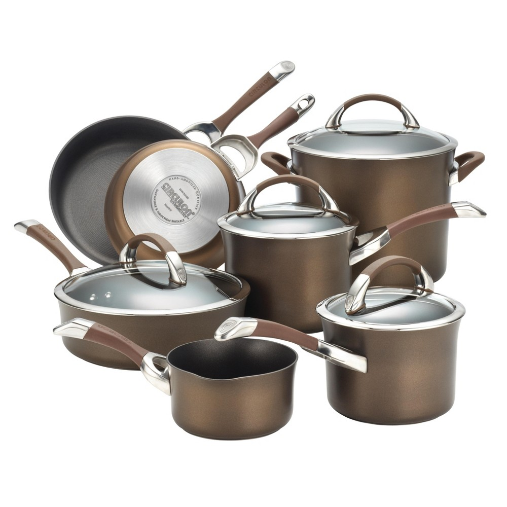 Image of Circulon Symmetry 11 Piece Cookware Set - Chocolate (Brown)