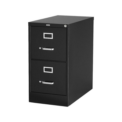 "Staples 2-Drawer Vertical File Cabinet Locking Letter Black 25""D (25157D) 85988"