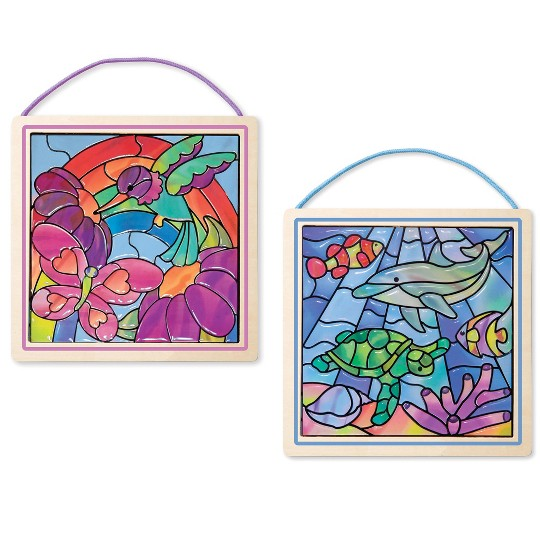 Melissa & Doug Peel and Press Stained Glass Activity Kits Set: Rainbow Garden and Undersea Fantasy - 180+ Stickers, 2 Frames image number null