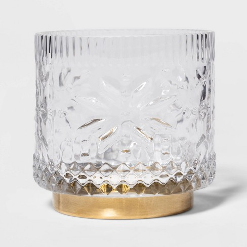 "3.5"" x 3.5"" Fair Isle Glass Hurricane Candle Holder Clear/Gold - Threshold™ - image 1 of 4"