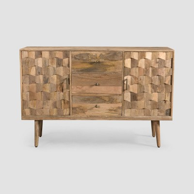 Latimer Mid-Century Modern 3 Drawer Sideboard Natural - Christopher Knight Home