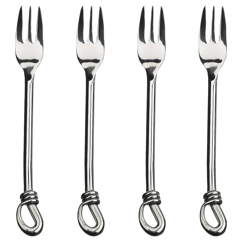Image of Gourmet Settings Twist 4pc Cocktail Forks, Silver
