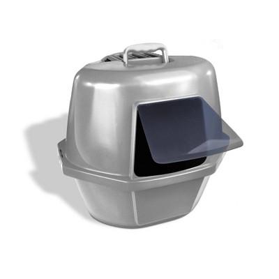 VAN NESS Corner Enclosed Cat Litter Pan - Silver