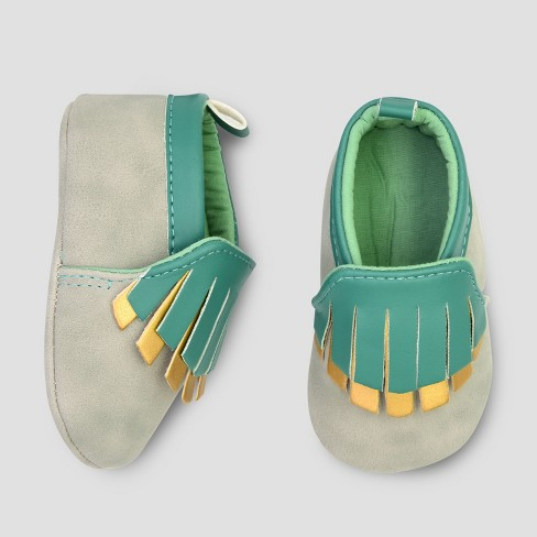 Baby Girls' Faux & Fern Moccasin Shoes - Cloud Island™ Gray - image 1 of 1