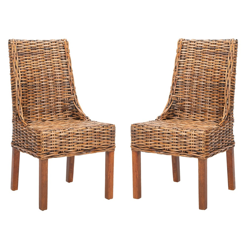 Set of 2 Dining Chairs Brown - Safavieh