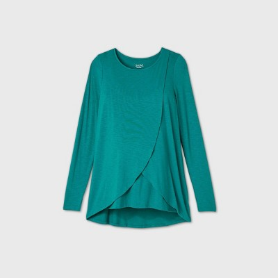 Maternity Long Sleeve Round Neck Cross Panel Nursing T-Shirt - Isabel Maternity by Ingrid & Isabel™ Teal M