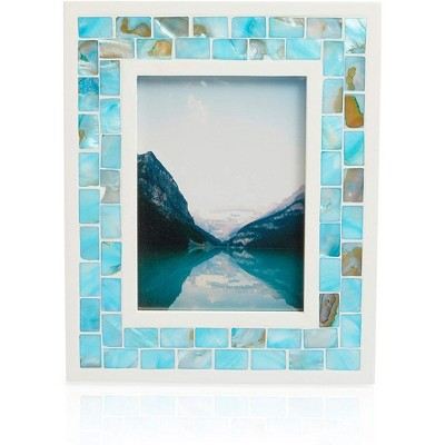 Okuna Outpost Blue Seashell Beach Picture Frame for 5 x 7 Inch Photos (10 x 8.6 x 0.43 in)